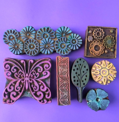 Indian Wooden Workshop Printing Set - Butterfly & Borders