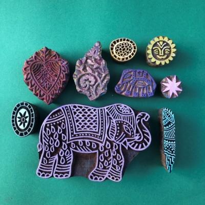 Indian Wooden Workshop Printing Set - Indian Elephants 2