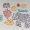Indian Wooden Workshop Printing Set - Indian Elephants 2 Sample