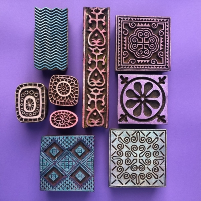 Indian Wooden Workshop Printing Set - Square Designs 1