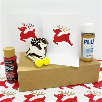 Block Printing Kit- Leaping Reindeer Christmas Cards