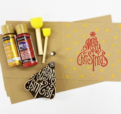 Block Printing Kit- Merry Christmas Tree & Dot Kraft Christmas Cards