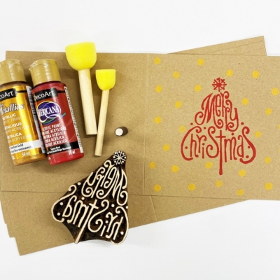 Block Printing Kit- Merry Christmas Tree & Dot Kraft Christmas Cards