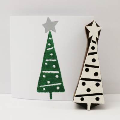 Indian Wooden Printing Block - Patterned Christmas Tree 3