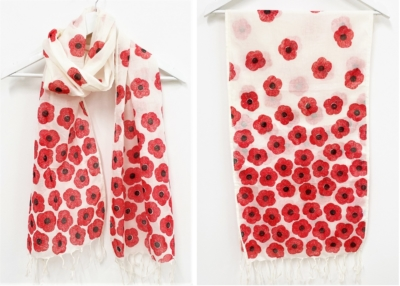 Remembrance Day Block Printed Poppy Scarf
