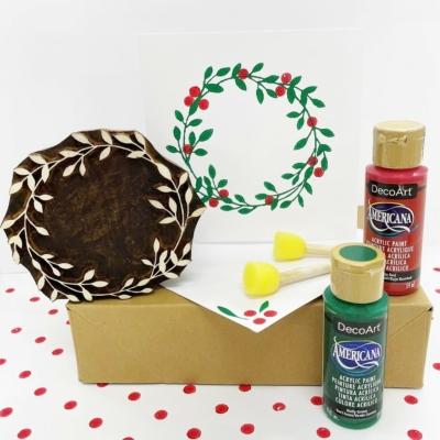 Wreath and Berries Block Printing Christmas Kit