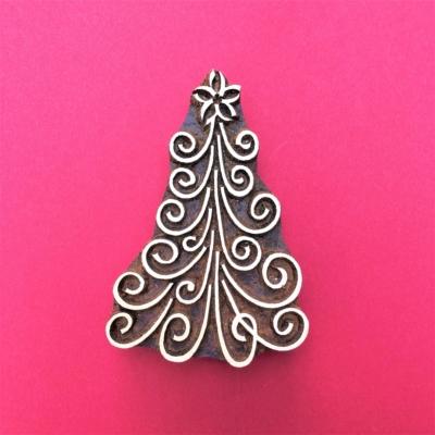 Indian Wooden Printing Block Large Swirly Christmas Tree