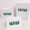 Block Printed Christmas Cards- Snowy Forest Scene