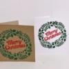 Merry Christmas Wreath Block Printed Cards