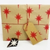Hand Block Printed Dotty Christmas Star Wrapping Paper