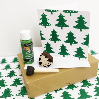 Block Printing Kit- Festive Christmas Tree Cards