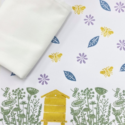 Block Printing Kit- Meadow Scene Tea Towels