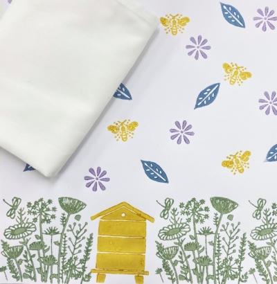 Block Printing Kit- Meadow Scene Tea Towels