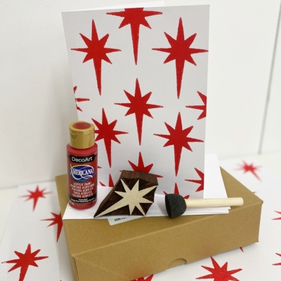 Block Printing Kit- Red Nativity Star Christmas Cards