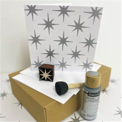 Block Printing Christmas Card Boxed Kit- Silver Star