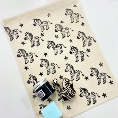 Block Printing Kit- Starry Zebra Drawstring Bag