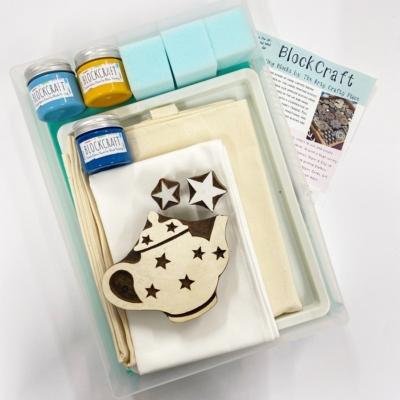 Complete Block Printing Kit- Teapot and Stars