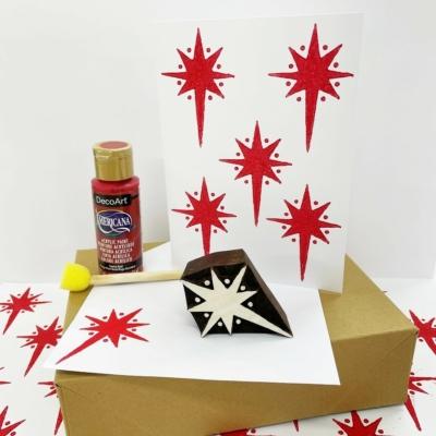 Dotty Star Christmas Card Printing Kit