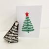 Hand Printed Christmas Card- Block Printed Holly Leaf Tree Card