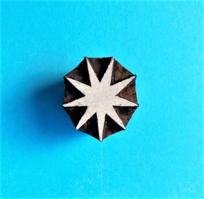 Indian Wooden Printing Block- 9 Point Christmas Star