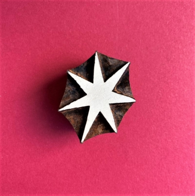 Indian Wooden Printing Block- Asymmetrical Star