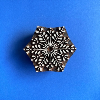 Indian Wooden Printing Block- Detailed Festive Snowflake