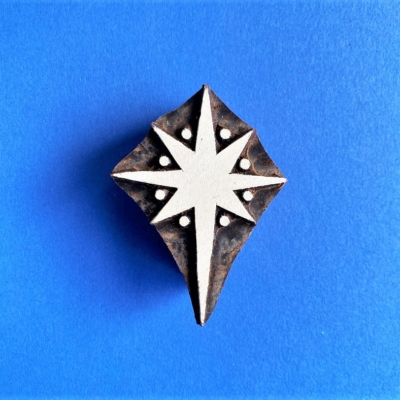 Indian Wooden Printing Block- Dotty Christmas Star