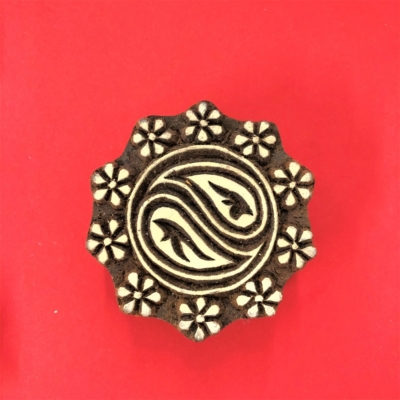 Indian Wooden Printing Blocks - Flower Border Circle
