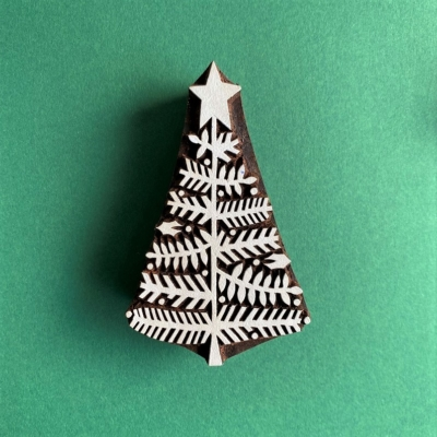 Indian Wooden Printing Block- Holly Leaf Christmas Tree