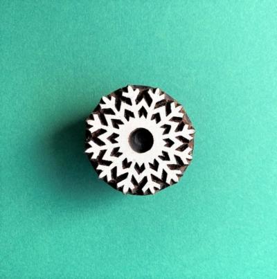 Indian Wooden Printing Block- Icy Snowflake