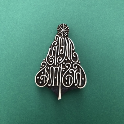 Indian Wooden Printing Block - Large Merry Christmas Tree