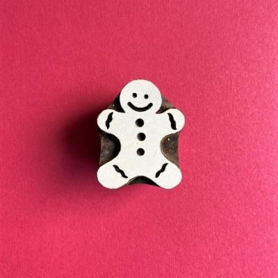 Indian Wooden Printing Block- Medium Solid Gingerbread Man