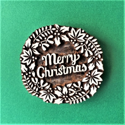 Indian Wooden Printing Block- Merry Christmas Wreath