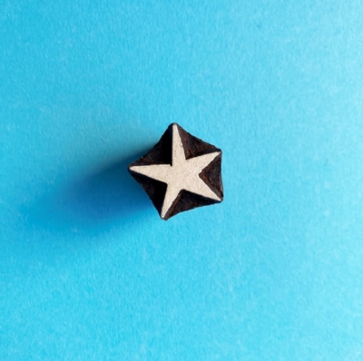 Indian Wooden Printing Block- Mini Wonky Star