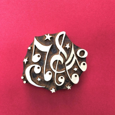 Indian Wooden Printing Block - Music Notes