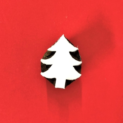 Indian Wooden Printing Blocks - Small Simple Christmas Tree