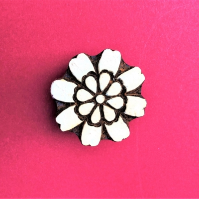 Indian Wooden Printing Block - Solid Spring Flower