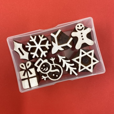 Indian Wooden Printing Block Set- Mini Funky Christmas Designs