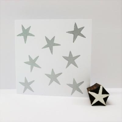 Indian Wooden Printing Block - Mini Wonky Star