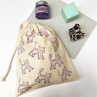 Block Printing Kit- Lavender Cat Bag