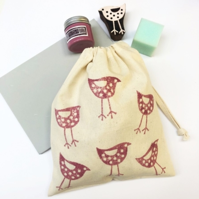 Block Printing Kit- Pretty Bird Bag