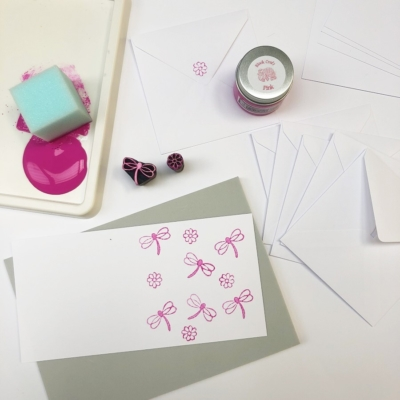 Block Printing Kit- Flowery Dragonfly Notecards