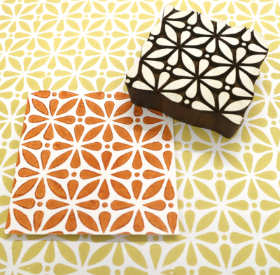 Indian Wooden Printing Block - Abstract Tile