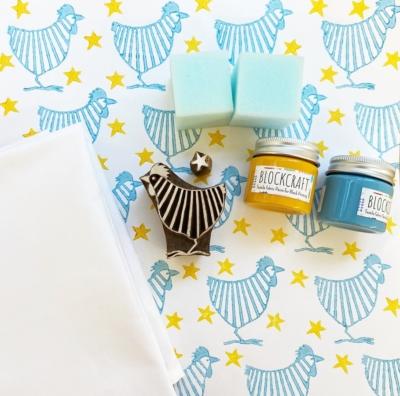 Block Print Kit- Stripy Chicken and Stars Tea Towels