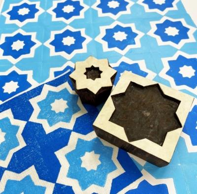 Indian Wooden Printing Block- 2 Part Star Tile
