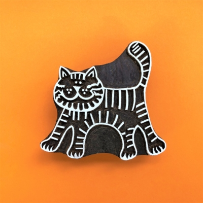 Indian Wooden Printing Block - Extra Large Cat