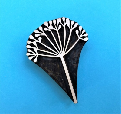 Indian Wooden Printing Block Botanical Seed Head Last Chance