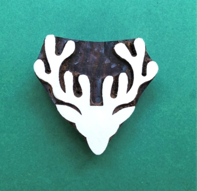 Indian Wooden Printing Block - Large Stag Head