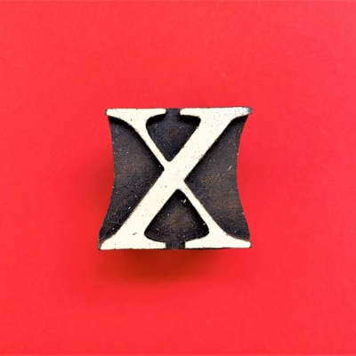 Indian Wooden Printing Block - Letter X