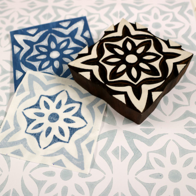 Indian Wooden Printing Block - Mediterranean Tile